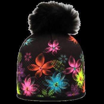 zimní čepice BAREVNÉ KVĚTY R550MA kož.