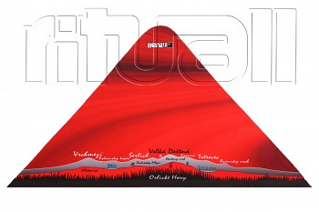 RITUALL trojcípý šátek ORLICKÉ HORY červená