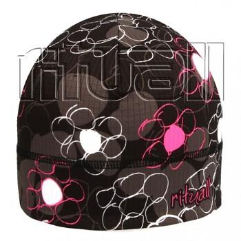 RITUALL podzim/zima čepice KULATÉ KYTKY Picowinter černá/fluo růžová