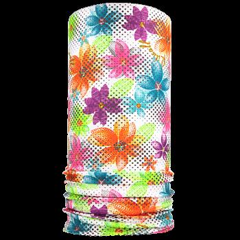 multifunkční šátek BAREVNÉ KVĚTY Mikropolyester bílá