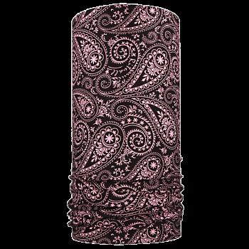 multifunkční šátek KAŠMÍR Mikropolyester černá/světle růžová
