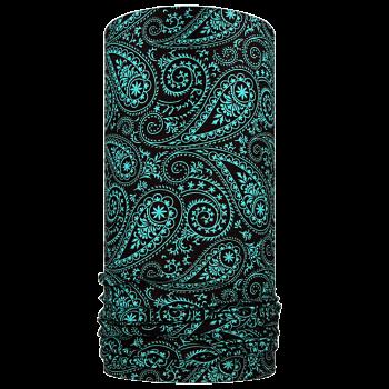 multifunkční šátek KAŠMÍR Mikropolyester černá/tyrkys