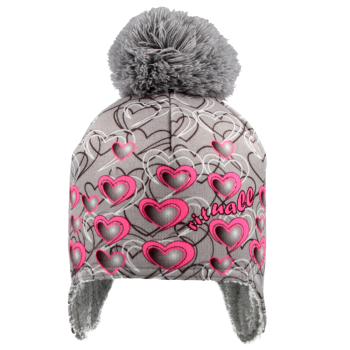čepice na uši podšívka Wellsoft  SRDCE šedo/fluo růžová