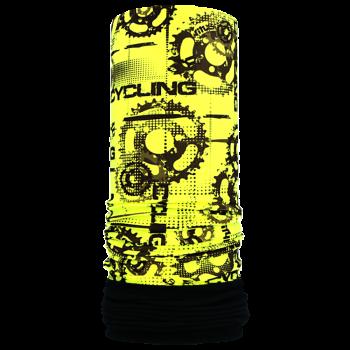 Nákrčník s flisem CYCLING R078FSf žlutá fluo