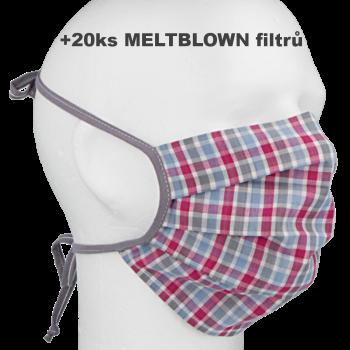Rouška bavlněná dvouvrstvá s kapsou na filtr  R918F + 20x MELTBLOWN filtr